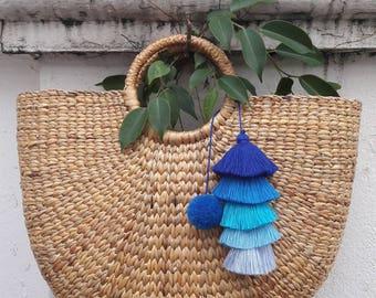 5 Blue Tassel ,Bag Charm,Tassel Bag Charm,Pom pom Bag Charm,Blue Tassel & Pom pom,Hanging wall decor,Tassel Garland,Pom pom Garlanded.