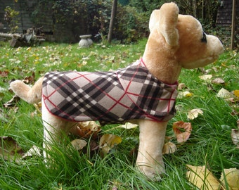 Dog Jacket -  Brown and Red Plaid Knit Fabric Dog Coat- Size XX Small 8-10 Inch Back Length