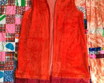 Vintage Orange Velour Fringe Jantzen Groovy Vest