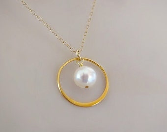 Birthstone Necklace, Minimal Necklace, Dainty Necklace, Delicate Necklace, Stone Necklace, Pearl Necklace, Freshwater Pearl, Gifts under 25,