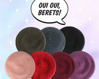Wool Beret Hat – Slouchy Beret- 90s / French Style – Your Choice of Color: Blush Pink, Red, Lilac, Wine, Forest Green, Blue, & Black