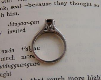 Amaya - Smoky Quartz Ring, Scorpio birthstone, tulip setting, alternate engagement ring, reclaimed gemstone, sterling silver, gift for her
