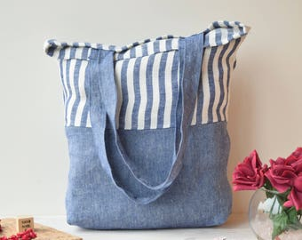 Canvas tote bag, Tote bag, tote, Tote bag canvas, farmer market, striped  blue, Market bag, beach bag, shopping bag, Linen shoulder bag