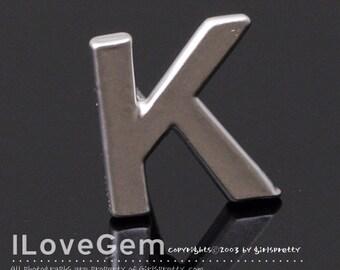 NP-1608 Matt Rhodium Plated, Alphabet, Upper case, Initial Stud Earrings, K, 2pcs