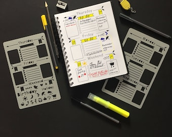 Bullet Journal Stencil, Set of 2 stencils, Planner Stencil, Bullet Journal, Bullet Journal template