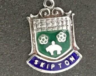 Silver Bracelet Charm Enamel Skipton Shield Necklace Pendant Fob Yorkshire