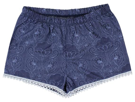 Denim Baby Shorts Girl Shorts Toddler Shorts Cluny Lace Shorts Light Weight Denim Shorts Lace Trim Baby Girl Shorts Floral Gift Denim Shorts