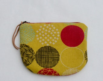 Geometric Circles Padded Round Zipper Pouch / Coin Purse / Gadget / Cosmetic Bag - READY TO SHIP