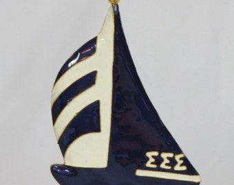 Tri Sigma Sailboat Mascot  Cloisonne Ornament with 24k gold plating