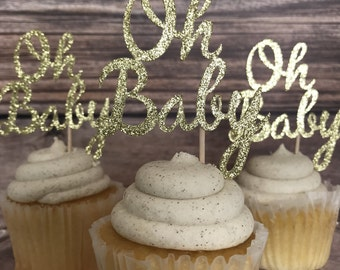 Oh Baby Cupcake Topper - Gold Glitter Oh Baby Cupcake Topper- Gender Neutral Baby Shower Decor- Sprinkle