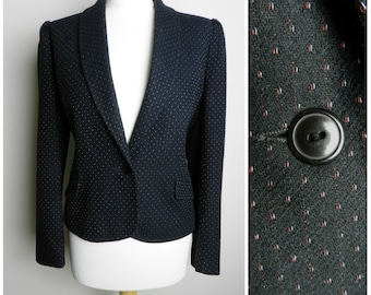Sale 80's WOOL black red + white FLECKED fitted tailored jacket pockets puff shoulders u.k. 12 - 14 M
