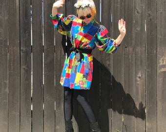 Festival Dress- Colorful Mini Dress- 90s Hip Hop Clothing- Mini Dress Vintage- Colorblock Dress- 80s Clothing- 90s Clothes- Festival Fashion