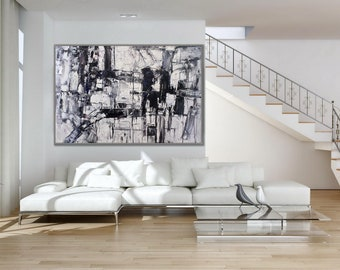 """Original Black and White Minimalist Extra Large Heavy Textured Palette Knife Modern Abstract Wall Art Painting 72"""" 180cm XL XXL"""