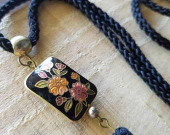 Black cord tassel cloisonne necklace