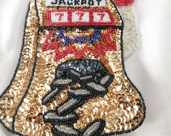"""Sequin Patch/Applique Of A Jackpot Machine Spilling Coins/7"""" High By 4"""" Wide/Sew On/Silk Backing Made In China B"""