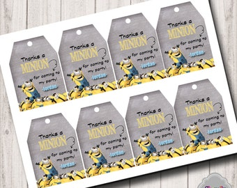 Minion - Thank You Hang Tags - Printable - HT009 - Personalized