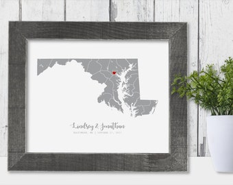 Maryland Map State of Maryland Wall Art Frame Canvas Guest Book Print Maryland Wedding Gift Maryland Love Personalise Wedding Couple Unique