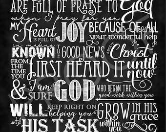 Scripture Art - Philippians 1:3-6 (TLB) ~ Chalkboard Style