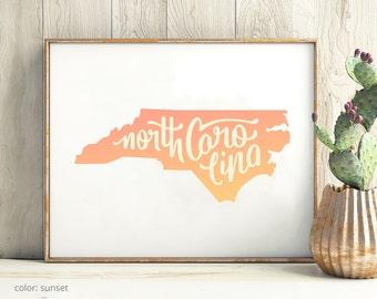 North Carolina print - North Carolina poster - North Carolina art - North Carolina wall art