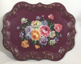 Large Tole Tray Hand Painted Burgundy Yellow  White Pink Floral 25 x 20 Vintage