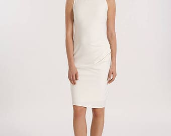 Maarimaia Racer Front Gathered Fitted Dress in WHITE | Minimalist Dress| racer neck  | Stretch Bodycon | Cocktail Dress| Pencil Dress