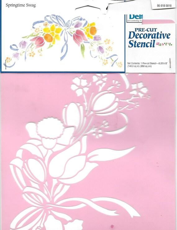 Puppy Bows ~ craft items Delta Plaid pre-cut decorative stencil SPRINGTIME SWAG large tulip flowers