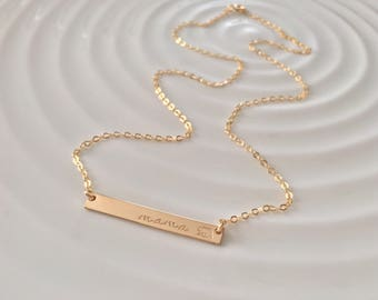 Mama Bear Gold Bar Necklace - gold filled - hand stamped bar - custom layering necklace - gift for her - christmas gift - raising my tribe