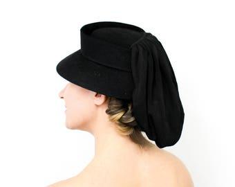 40s Black Wool Hat   Black Wool  & Jersey Drape Tilt Hat   Claire Joyce Model