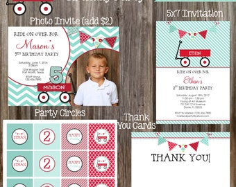 RED WAGON Birthday Party Printable Package