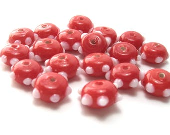 Bright Red Glass Rondelles w/ White Raised Dots  x 18 (10mm) - Glass Beads