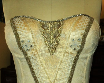 Antique Bridal Bustier Wedding Corset Cream Embellished with Metallic Applique and Rhinestone Trim Silk with Beaded Florals