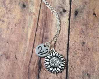 Sunflower initial necklace - sunflower jewelry, gift for gardener, flower necklace, gardener necklace, silver sunflower necklace