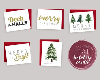 PRINTED HOLIDAY CARDS, 10 Pack of Christmas Cards, Typography, Watercolor Trees, Gold, Deck the Halls, Happy Holidays, Holly Jolly