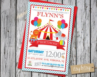 Birthday Invitation Kids, Circus, Carnival, 5th 4th, 3rd. 2nd or 1st Birthday Invitation, Circus Party, Carnival Party 6x4 or 5x7
