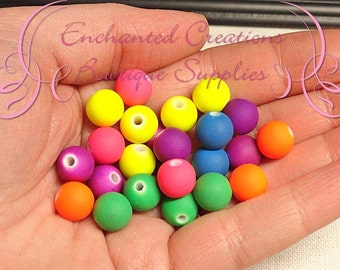 10mm Assorted Neon Acrylic Beads With Rubber Coating Qty 50