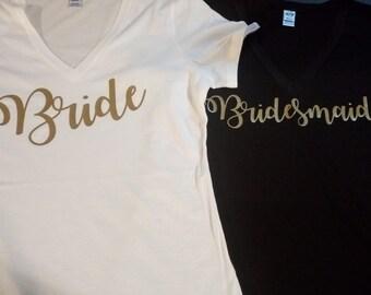 Custom Bridal Party V-Neck T-Shirts - Bridal Shower - Bachelorette Party - Bride Shirt - Bridesmaid Shirt - Maid of Honor Shirt