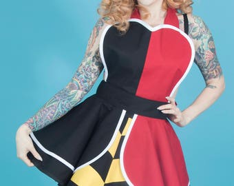 Queen of Hearts Pinup Retro 50s Apron by Dotties Diner Ready to Ship