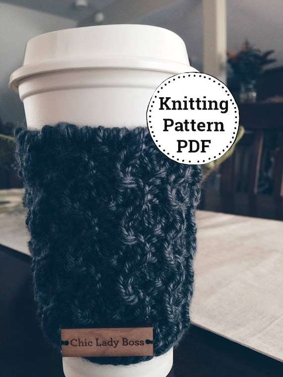 Knitted Mug Cozy Pattern, Instant Download | Cup Cozy | Coffee Cup Sleeve | Tea Cozy | Coffee Cozy| Knit Coffee Cozy | Reusable Cup Cozy