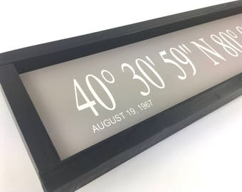 Framed Latitude Longitude coordinates sign/ Personalize location and tag line/available in 2 sizes, 4 frame styles & 16 background colors