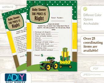 Boy Tractor Price is Right Game Printable Card for Baby Tractor Shower DIY green Yellow Farm -oz95bs12