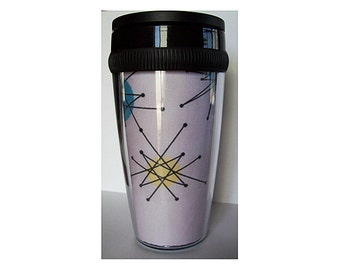 mid century travel mug retro 1950s inspired atomic era coffee cup kitsch