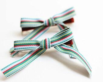 Ribbon Hair Clips - Green Stripes