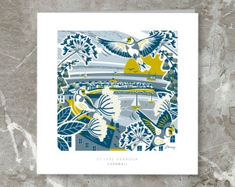 St Ives Harbour, Cornwall Illustration. Greetings Card + Envelope. 6inch x 6inch. Birthdays, Occassions, Aniversary.