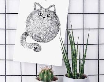 Cat illustration Art Print. Art print of original drawing A5 and A4.