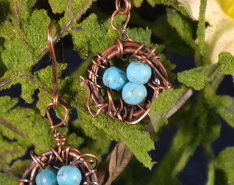 Handmade Copper Wire Wrapped Bird's Nest Earrings - Dainty and So Pretty - Turquoise Blue Eggs Nestled in Copper Wire Nest - Great Gift Item