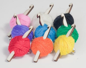 Crochet Hook & Ball of Yarn Brooch Pins in 9 colours of wool