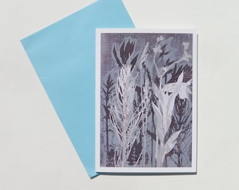 1 Blank floral art greetings card  Wild flowers by Stef Mitchell Modern floral botanical design from original nature monoprint Duck egg blue