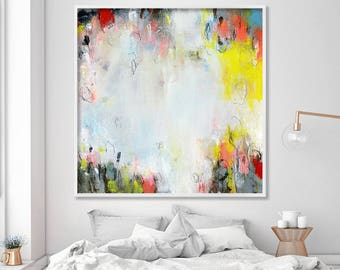 """Large ABSTRACT Print on Canvas, Large giclee print, fine art print white, yellow, up to 40x40"""" by DUEALBERI"""