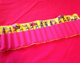 Crayon Roll Up Holder Case Sparkly Birds Butterflies Flowers Handmade Holds 16 Crayons