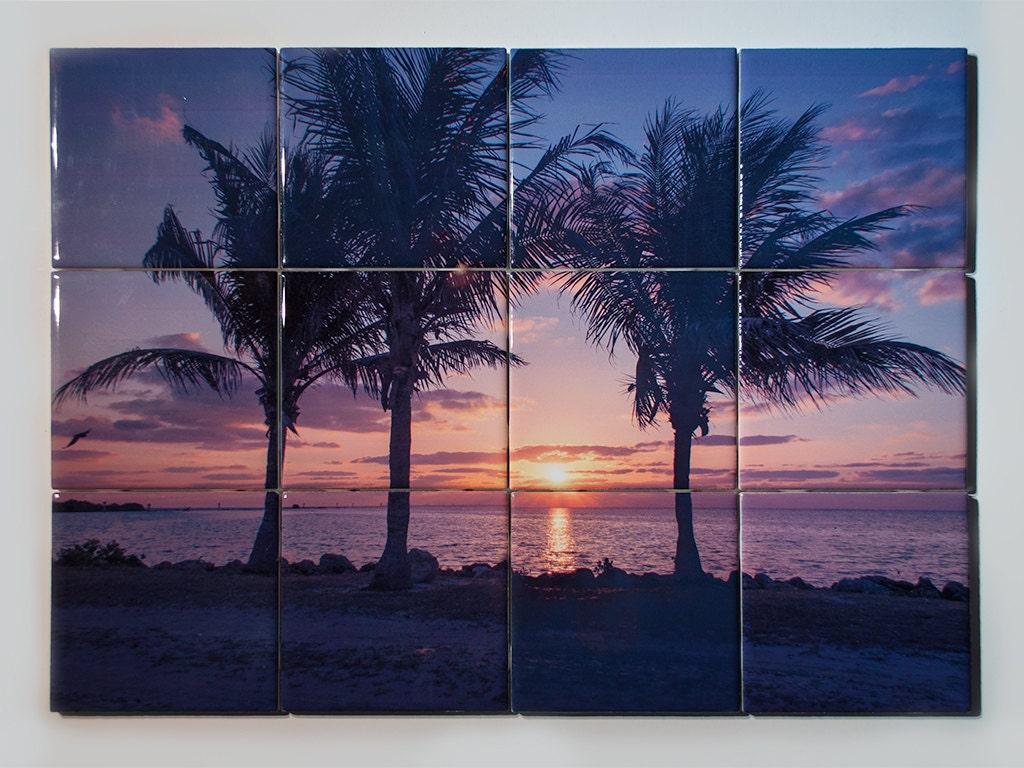 Ceramic tile mural miami palms sunrise design kitchen zoom dailygadgetfo Images